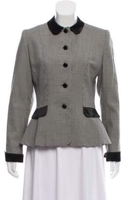 Norma Kamali Houndstooth Wool Blazer