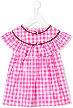 Gucci Kids ruffle-trimmed checked top