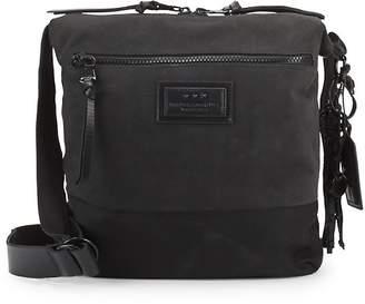 John Varvatos Logo Suede Crossbody Bag