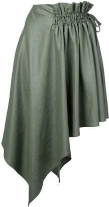 ADEAM draped asymmetric midi skirt