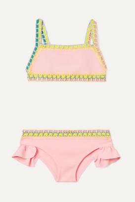 Kiini Kids - Bea Ruffled Crochet-trimmed Bikini - Pink