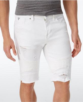 GUESS Men's Slim-Fit Stretch Cutoff Denim Moto Shorts $98 thestylecure.com