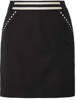 Tomas Maier Striped Grain De Poudre Wool Mini Skirt - Black