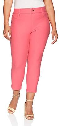 Hue Women's Plus Size Ankle Slit Essential Denim Capri Leggings