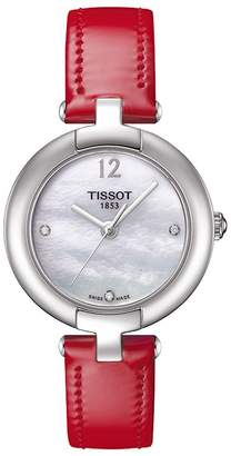 Tissot Stainless Steel Diamond Accented Leather Strap Watch