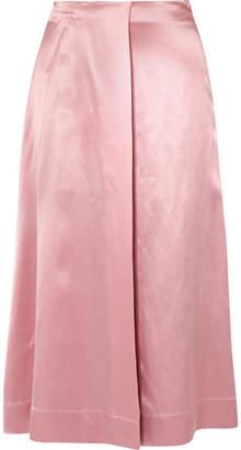 Deitas - Harper Wrap-effect Silk-satin Midi Skirt - Pastel pink