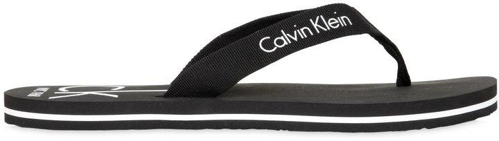 Calvin Klein Underwear Logo Printed Grosgrain Flip Flops