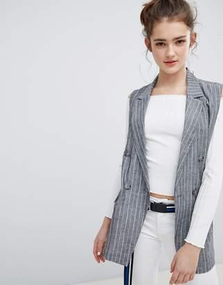 Bershka Pin Stripe Sleeveless Blazer