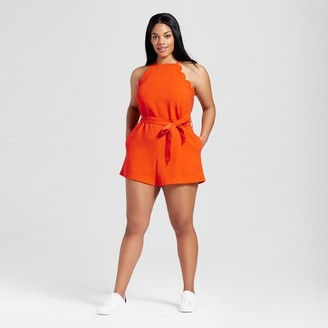 Victoria Beckham for Target Women's Plus Orange Scallop Tie Waist Romper $35 thestylecure.com