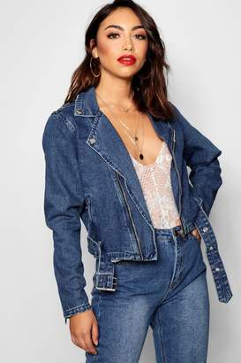 boohoo Zosia Zip And Buckle Denim Biker Jacket