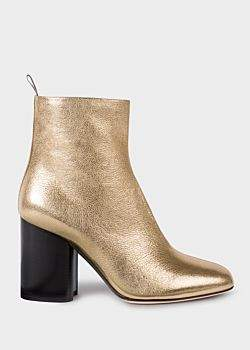 Paul Smith Women's Gold Leather 'Egan' Boots