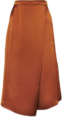 Vince Asymmetric Wrap-effect Silk-satin Skirt - Copper