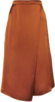 Vince Asymmetric Wrap-effect Silk-satin Skirt - Copper