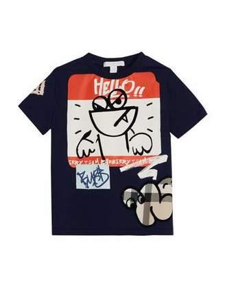 Burberry Sticker Graphic Short-Sleeve T-Shirt, Size 4-10
