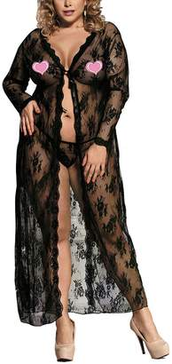 Zerolove Plus Size Robe Lingerie Sexy Lace Kimono Nightwear Long Gown  Sleepwear 252a4cd3d