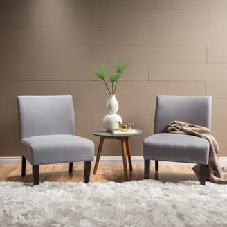 Noble House Clara Fabric Accent Chair, Set of 2, Light Grey