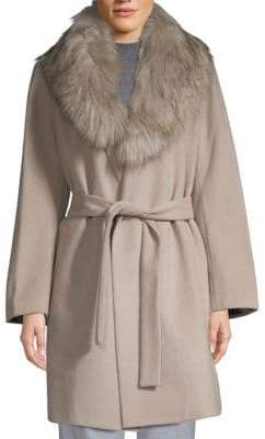 T Tahari Flora Faux Fur-Collar Wrap Coat