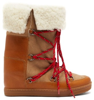Isabel Marant Nowly Shearling And Leather Boots - Womens - Tan Multi
