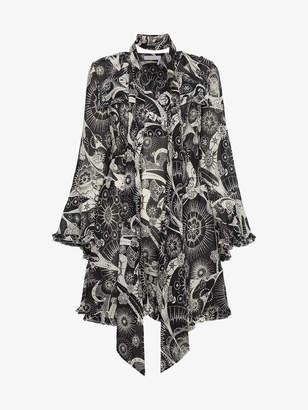 Chloé kaleidoscope-print bell-sleeve dress