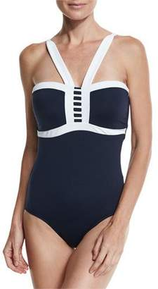 Seafolly Block Party Maillot, Navy, Available in Extended DD Cup
