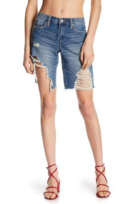 BLANKNYC Denim Deconstructed Mid Thigh Shorts