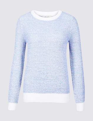 Marks and Spencer Pure Cotton Textured Yarn Round Neck Jumper