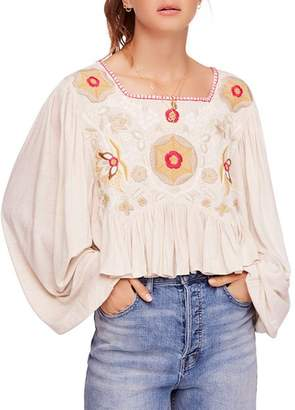 Free People Claudine Embroidered Top