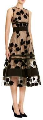 Carolina Herrera Leaf-Embroidered Flocked Velvet Dress