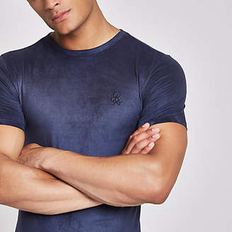 River Island Navy suede 'R96' muscle fit T-shirt