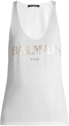 BALMAIN Logo-print racer-back cotton-jersey tank top $150 thestylecure.com