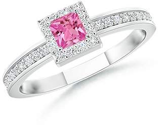 Angara.com Square Pink Sapphire Stackable Ring with Diamond Halo in 14K White Gold (3mm Pink Sapphire)