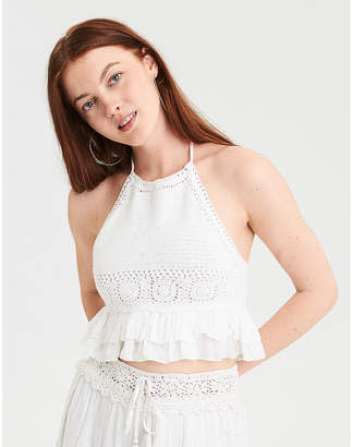 American Eagle AE Crochet Halter Top