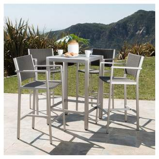 Christopher Knight Home Cape Coral 5pc All-Weather Wicker/Metal Patio Bar Set - Gray