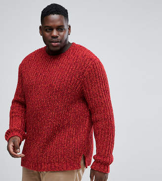Asos Plus Heavyweight Fisherman Rib Jumper In Burgundy