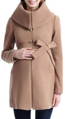 Kimi + Kai Maternity Mia Wool-Blend Oversized Fold-Over Collar Coat
