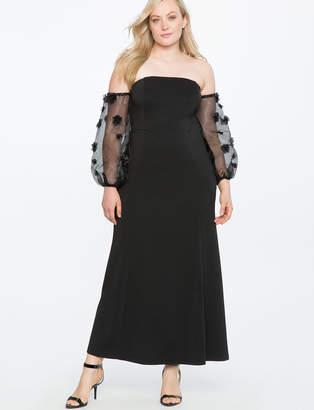 ELOQUII Studio Off the Shoulder Embellished Sleeve Gown