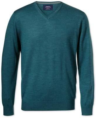 Charles Tyrwhitt Teal Merino Wool V-Neck Sweater Size XXL