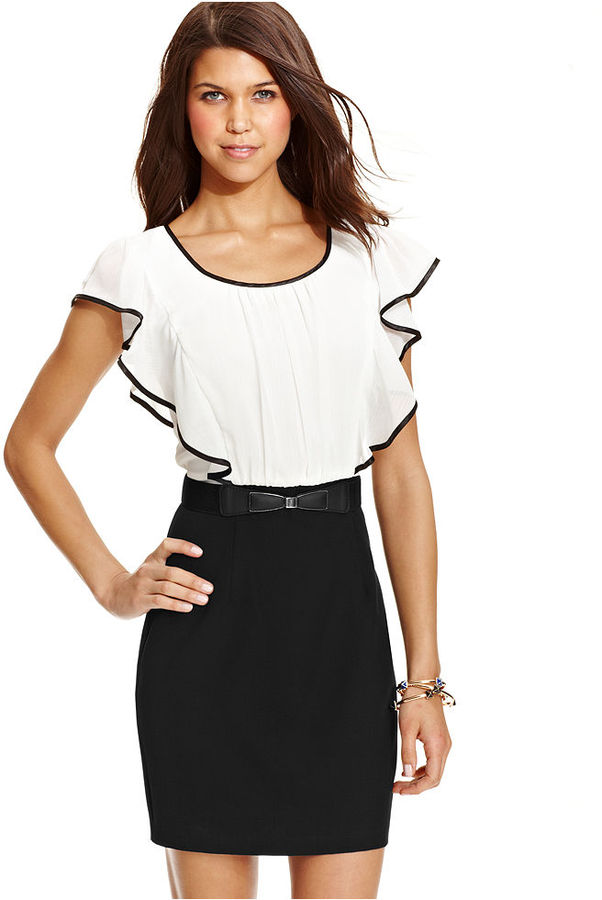 Amy Byer BCX Juniors Dress, Short Sleeve Ruffled Belted Colorblock