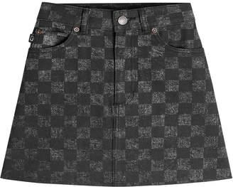 Marc Jacobs Checked Denim Mini Skirt