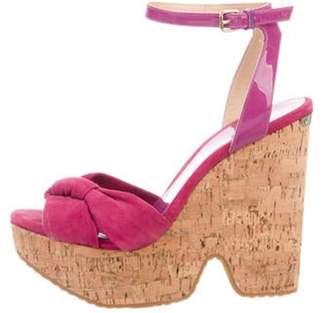 Jimmy Choo Suede Platform Sandals Purple Suede Platform Sandals