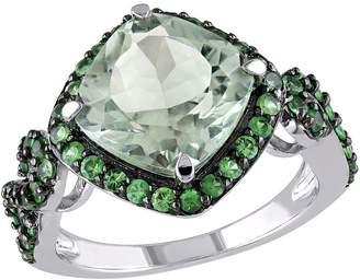 4.50cttw Tsavorite & Green Quartz Ring, Sterl ing