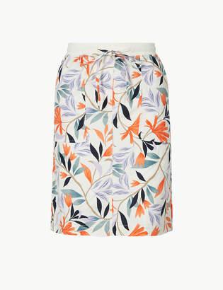 Marks and Spencer Linen Rich Leaf Print A-Line Mini Skirt