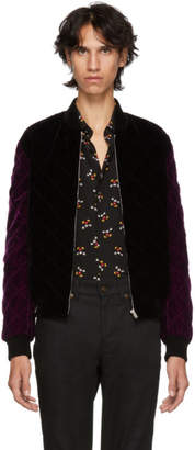 Saint Laurent Black and Purple Velvet Quilted Bomber Jacket