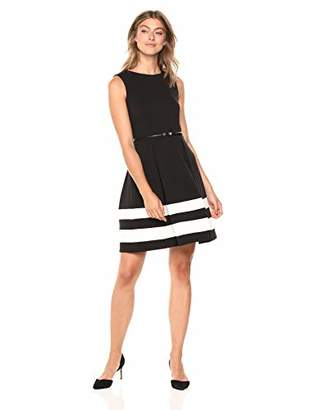 Calvin Klein Women's Fit-and-Flare Dress with Belted Waist