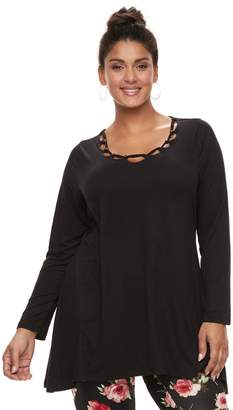 Laundry by Shelli Segal Plus Size French Embellished Top