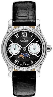 Charmex Granada Women's 31mm Black Calfskin Stainless Steel Case Date Watch 6217