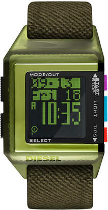 Diesel Men 40th Anniversary Tipps Digital Olive Canvas Strap Watch 39x59mm, Limited Edition