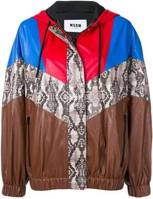 MSGM patterned oversized hooded jacket