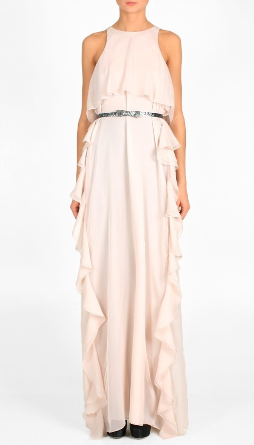 Solid Silk Chiffon Long Dress