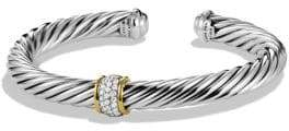 David Yurman Cable Classics Bracelet with Diamonds and Gold - Silver